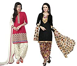 Shree Sai Exports Women's Printed Unstitched Regular Wear Salwar Suit Dress Material (Combo pack of 2)