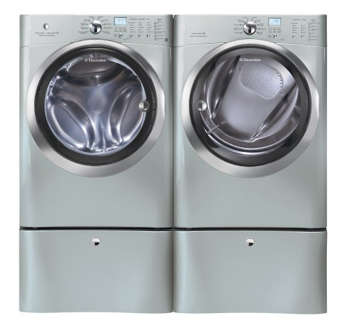 Electrolux Silver IQ Touch Front Load Washer and Steam ELECTRIC Dryer Laundry Set W/ Pedestals EIFLS60LSS_EIMED60LSS_EPWD15SS