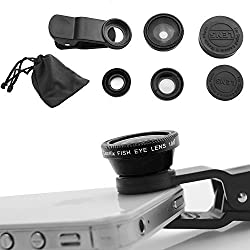 Electomania 3 in 1 Cell Phone Camera Lens Kit - Fish Eye Lens / 2 in 1 Macro Lens & Wide Angle Lens