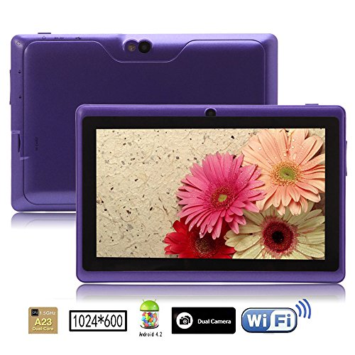iRulu 7 inch Android Tablet PC, 1024*600 HD Screen with 5 Point Capactive Touch, 4.2 Jelly Bean OS, Dual Core, Allwinner A23 CPU, Dual Cameras(0.3/2.0MP), 8GB Storage (Purple)