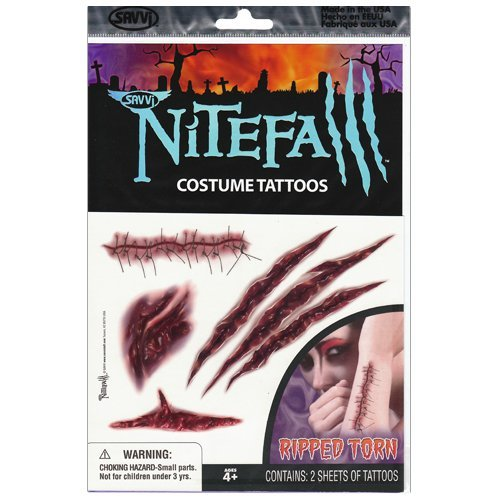 Ripped Torn Nitefall Costume Tattoos