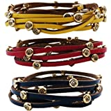 Chelsea Doll Leather & Crystal Wrap Bracelet