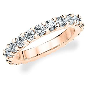 18K Rose Gold Diamond Knife Edge Eternity Band (2.0 cttw, F-G Color, VS1-VS2 Clarity) Size 9