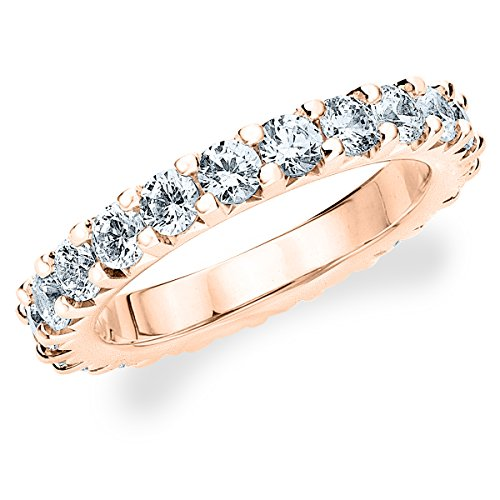 18K Rose Gold Diamond Knife Edge Eternity Band (3.0 Cttw, H-I Color, I1-I2 Clarity) Size 6.5