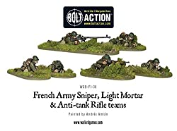 Warlord Games - French Army: Sniper, Light Mortar & AT Rifle Teams - 28mm Bolt Action Wargaming Miniatures