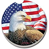 Counterart Absorbent Stone Car Coaster- Eagle & Flag -Set Of 2