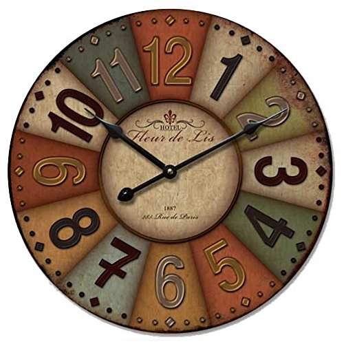 12 Vintage France Paris Colourful French Country Tuscan Style Paris Wood Wall Clock E