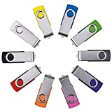 Enfain 8GB USB Key Flash Drive, Assorted Color, 10 Pack