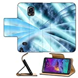 Luxlady Premium Samsung Galaxy Note 4 Flip Pu Leather Wallet Case Digital abstract shapes glowing in blue tones IMAGE 19863052