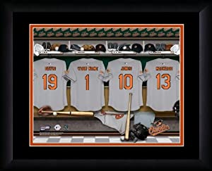 MLB Personalized Locker Room Print Black Frame Customized Baltimore Orioles by You