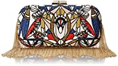 BCBG Embroidered Fringe Minaudiere Evening Bag