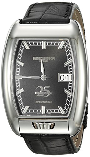 Charriol-Mens-MD52-Swiss-Automatic-Stainless-Steel-and-Leather-Dress-Watch-ColorBlack-Model-C25BD791004