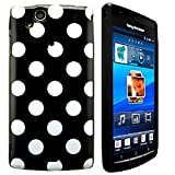 CellBig Sensational Black Polka Gel Case Cover Pouch Mask Wallet Pocket Holster For Your Sony Xperia X12 Arc S
