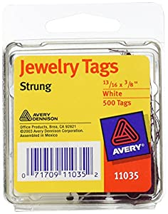 Avery Pre-Strung Jewelry Tags, Paper/String, 0.875 x 0.375 Inches, White/Purple, 500 per Pack (11035)