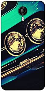 Snoogg Blue Vintage Muscle Car Designer Protective Back Case Cover For Micromax Canvas Nitro 3 E455