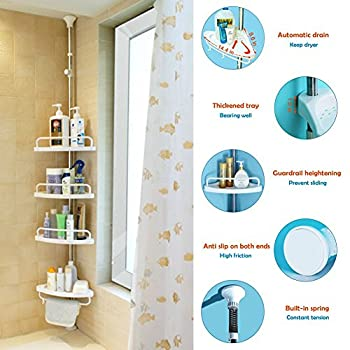 Bathroom Constant Tension Shower Caddy Pole, Commecial Grade Rustproof Corner Rack - Ivory