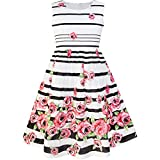 Sunny Fashion LP35 Girls Dress Black Striped Pink Flower Size 11-12
