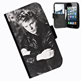 Hairyworm-David Bowie iphone 4 leather side flip wallet case cover for apple iphone 4 and 4s phone