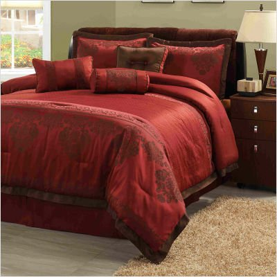 Fontaine Comforter Set Size: Queen, Color: Red / Brown