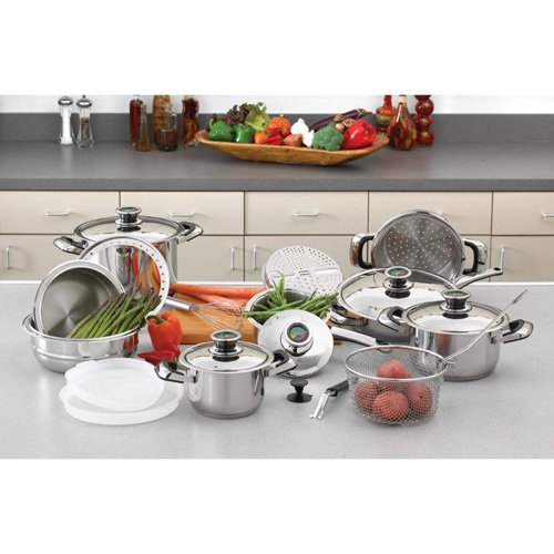 Chefs Secret 22pc 12-Element Super Set With Surgical Stainless Steel Extra Large 11inch Fry Pan