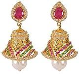 Violet & Purple Gold Alloy Jhumki Earrings for Women (1000029575)