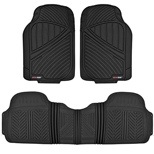 MotorTrend FlexTough Baseline - Heavy Duty Rubber Floor Mats, 100% Odorless & BPA Free (Black) (2007 Chevy Tahoe Floor Liners compare prices)