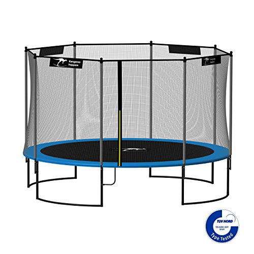 Kangaroo-Hoppers-12-Feet-Round-Trampoline-with-Safety-Net-Enclosure-and-Spring-Pad-BLUE