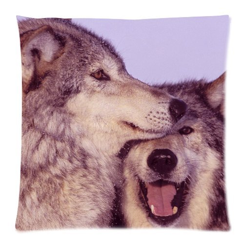 """Animal Couple Wolves Cuddle Together Custom Zippered Pillow Cushion Case Throw Pillow Covers 18""""X18""""(Two Sides) front-987121"""