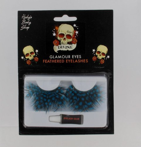 Blue Feathered, Glamour Eyes, Polka Dot Halloween Costume Eyelashes Accessory - 1