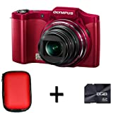Olympus SZ-14 Digital Camera - Red + Case and 8GB Memory Card (14MP, 24x Wide Optical Zoom) 3 inch LCD