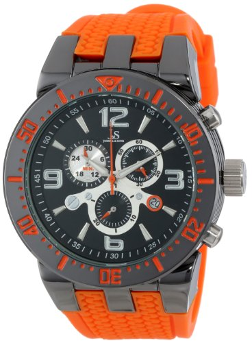 joshua-sons-mens-js55or-round-black-radiant-sunburst-dial-quartz-chronograph-gray-strap-watch
