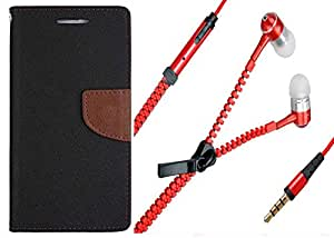 Novo Style Wallet Case Cover For Apple iPhone 5 Black + Zipper Earphones/Hands free With Mic 3.5mm jack