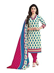 Taos Brand cotton dress materials for women womens dress materials cotton salwar suit New Arrival latest 2016 womens party wear Unstitched dress materials for women (1413 summer__cream and sky blue_freesize