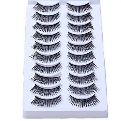 Ayliss - 20 Paires Faux Cils Volumineux Eyelashes Extension Naturel Noir Longues en Fibres Colle Adhesifs Maquillage Yeux #02