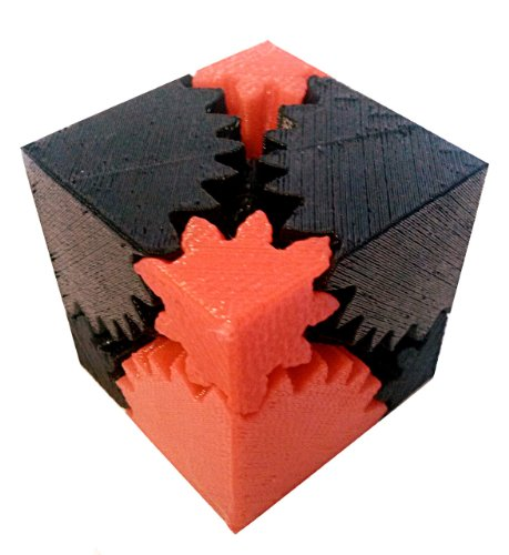3D Printed Rotating Cube Gear, Black and Red