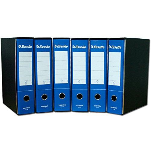 Esselte Raccoglitore con meccanismo a leva e custodia, Formato Protocollo, Cartone, Dorso 8 cm, Blu, Essentials, 390775050