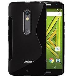 Casotec S-Line Anti-skid Soft TPU Back Case Cover for Motorola Moto X Play - Black