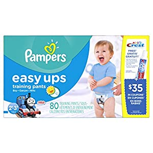 Pampers Easy Ups Training Pants, Size 2T3T Super Pack Boy, 80 Count