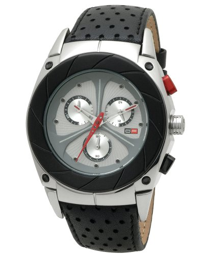 DFactory Men's DFM018YSB Black Label Silver Dial Leather Chronograph Watch
