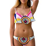 Fashion Emprie Women Push-up Bikini Set Padded Bra Triangle Printing Swimsuit