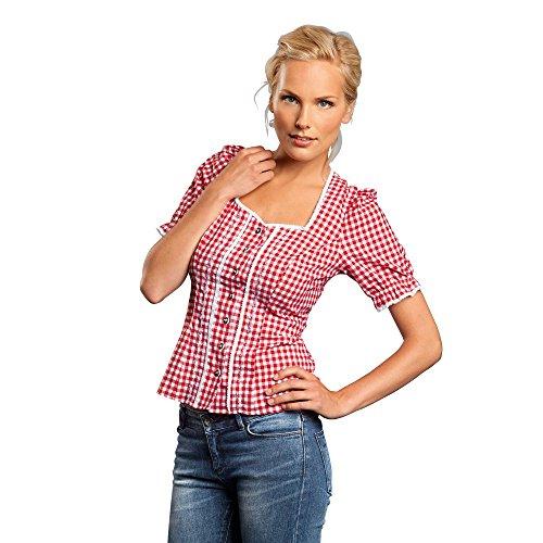 Adidas FC Bayern München Damen Trachtenhemd Karo , Größe:40;Farbe:weiß/rot