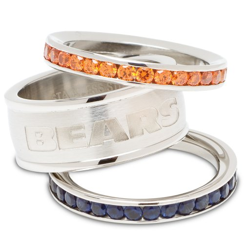 Chicago Bears Logo Crystal Stacked Ring Set (Size 6)