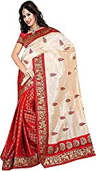Trishulom Cloth's Online Women's Silk Sarees With Blouse Piece (Red)