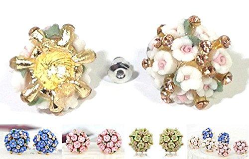 Bouquet earrings 2 pieces set selected eating 8-color white Silver Gold CZ diamond zircon zirconia women's earrings ear wedding parties for special events party [pierrot de pierrot '(Lavender)
