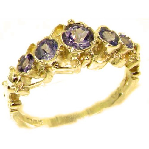 Solid 14K Yellow Gold Genuine Natural Tanzanite Ring of English Georgian Design - Size 9.25 - Finger Sizes 5 to 12 Available - Perfect Gift for Birthday, Christmas, Valentines Day, Mothers Day, Mom, Mother, Grandmother, Daughter, Graduation, Bridesmaid.