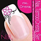 NAIL TATTOO STICKER Swarovski Crystal Set - Blossom / Ornament - pink / black