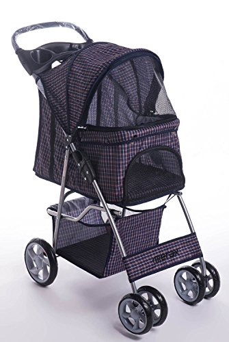 Merax Four Wheels Folding Pet Stroller Travel Carrier (Blue Grid)