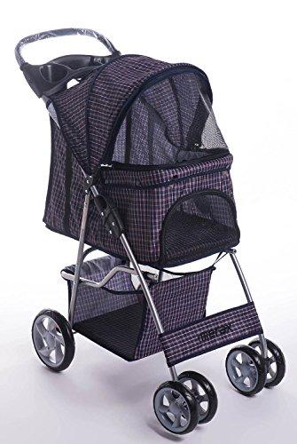 Merax Four Wheels Folding Pet Stroller Travel Carrier (Blue Grid)