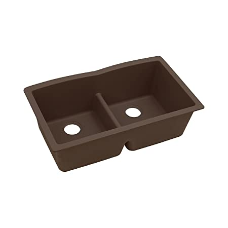 "Elkay ELGDULB3322MC0 Granite 33"" x 19"" x 10"" Double Bowl Undermount Kitchen Sink, Mocha"