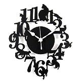 黒猫 シルエット 掛け時計 安心の日本製ムーブメント ブラック